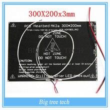 Más grande! 2015 MK2A 300 * 200 * 3.0 mm RepRap rampas 1.4 de aluminio PCB Heatbed + LED Resistor + Cable + termistores para impresora 3D MK2B