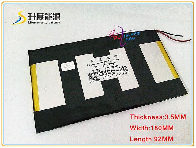 SD 3518092 de iões de lítio polímero de 3.7 V 8000 mAH/bateria Li-ion para TABLET PC, GPS, mp3, mp4, telefone celular; BANCO de POTÊNCIA