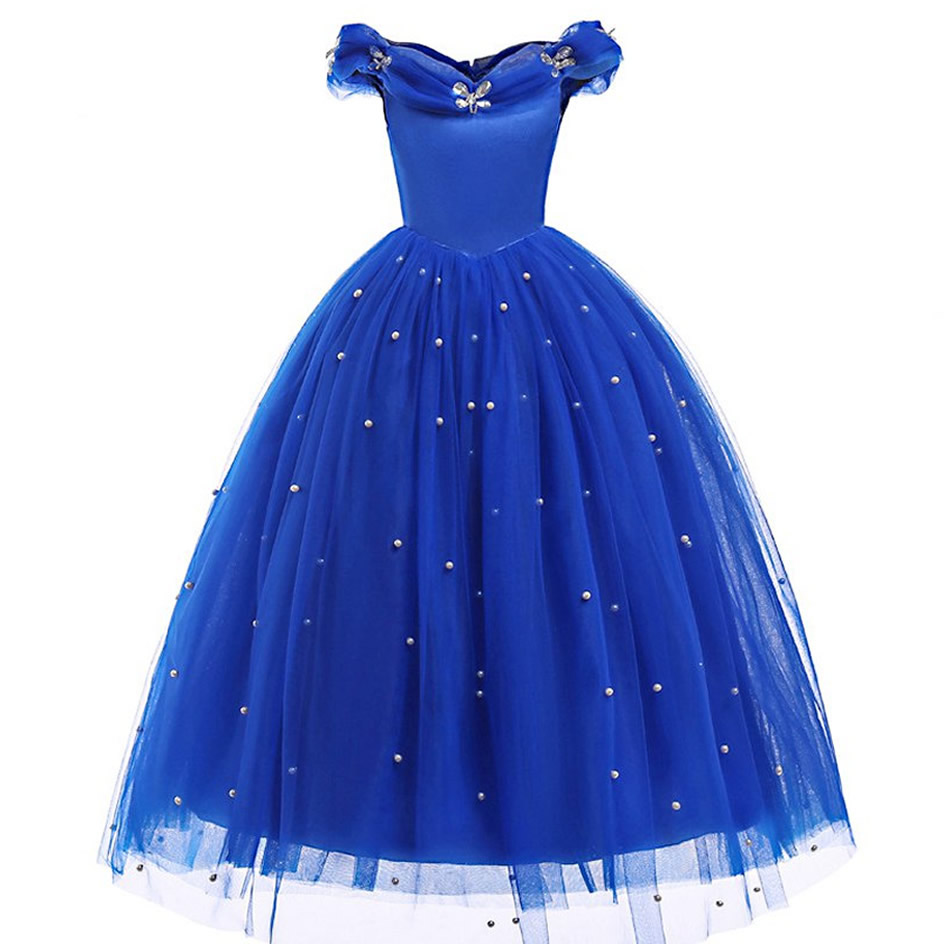 Girls Cinderella Princess Dress Elegant Blue Frocks For Summer Evening Prom Kids Dress Up Formal Party Costumes For Baby Girl in Dresses from Mother Kids