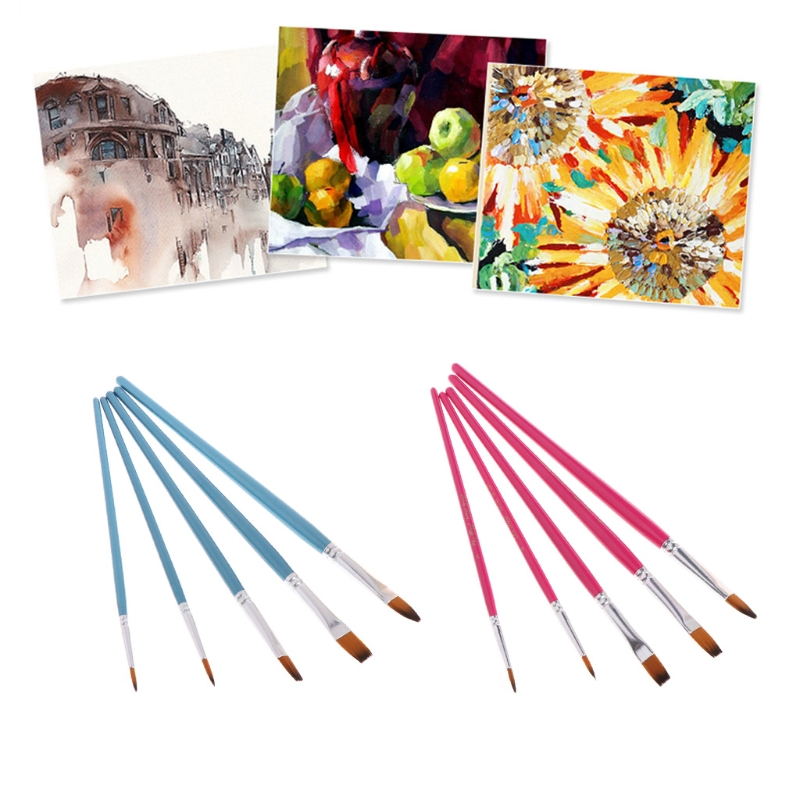 5Pcs Paint Brush Set Nylon Hair Flat Point Tip Watercolor Oil Acrylic Painting
