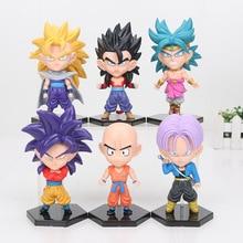 6pcs Set Dragon Ball Z Super Saiyan Son Gohan Goku Vegeta Action Figure