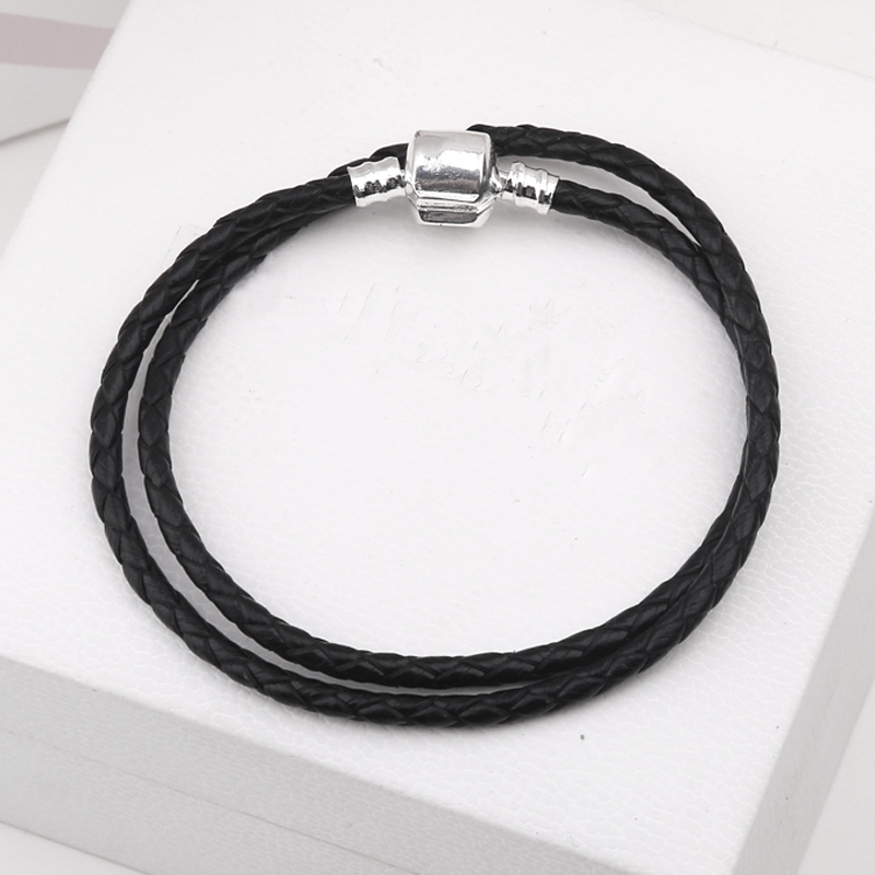Fashion Jewelry 3MM Genuine Leather Bracelet Chain Fit European Diy Pandora Charms Original Bracelet Making Best Berloque