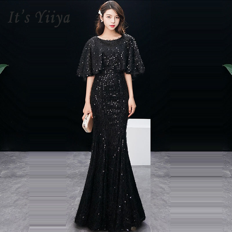 Evening Dress Elegant Short Sleeve Robe De Soiree 0-neck Women Party Dress 2019 Long Plus Size Sexy Black Slim Prom Dress E578