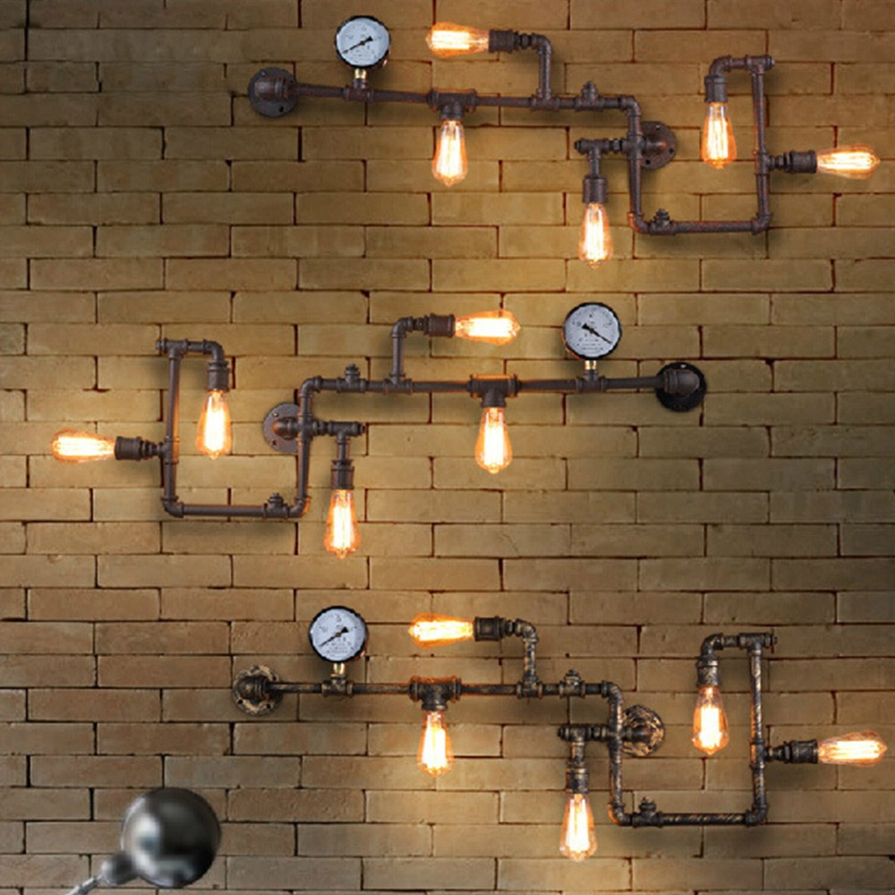 vintage steampunk pipe bar wall lamp industrial rustic loft wall fixture fitting bedroom wall light e27 bedroom wall lighting fixtures