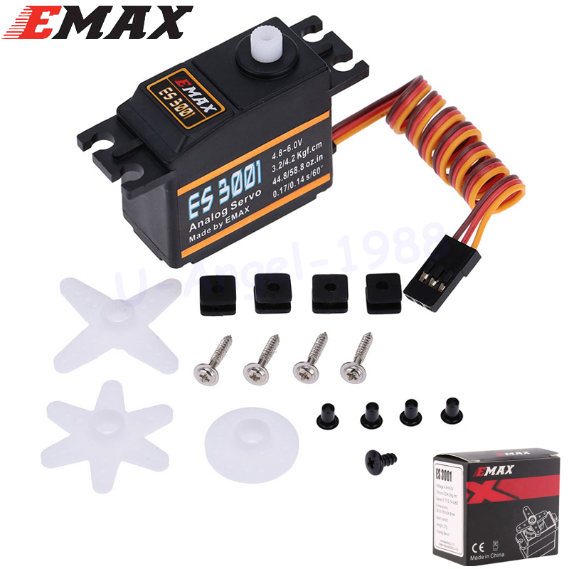 Emax ES3001 RC Parts ABS Analog Servo For Helicopter Airplane Part (ES08A ES08MA ES08MD wholesale) 4pcs lot emax es3001 rc parts abs analog servo for helicopter airplane part