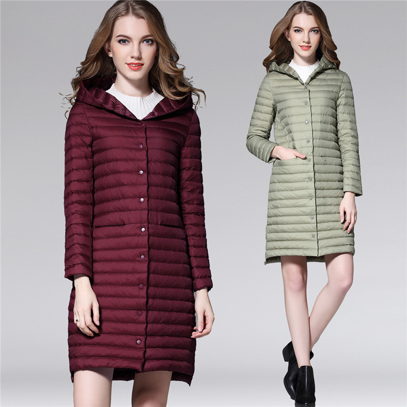 2018 Women White Duck Downs Jacket Autumn Winter Long Hooded Coat Parkas Female Ultra Light Down Coats Outerwear Clothing AB1110
