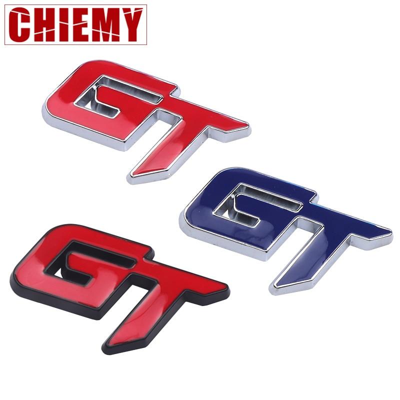 Car 3D Metal Emblem Trunk GT Logo Metal Stickers Auto Accessories Chrome Badge Decal For Focus 2mondeo Mk2 HYUNDAI Kia Nissan