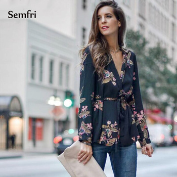 Semfri Blouse Women Black Kimono Shirt Sexy Floral Blouse with Belt 2020 Long Sleeve Autumn Summer New Boho Tops and Blouses knot detail floral blouse with shorts