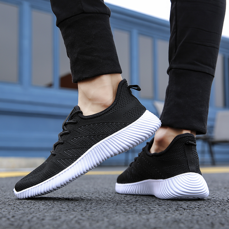 SUROM Mesh Casual Shoes Men Outdoor Sneakers Flywire Comfortable Flats Fashion Lace Up Flats Sneakers Men