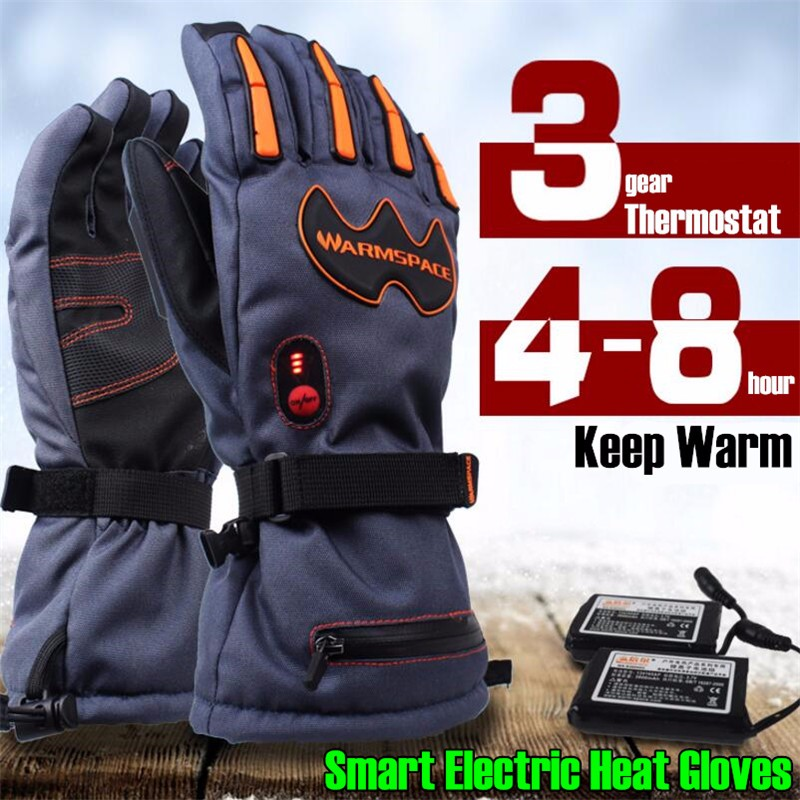 20p 5600MAH Smart Electric Heated Gloves,Outdoor Warm Sport Ride Skiing Gloves Lithium Battery 5 Finger&Hand Back Self Heating