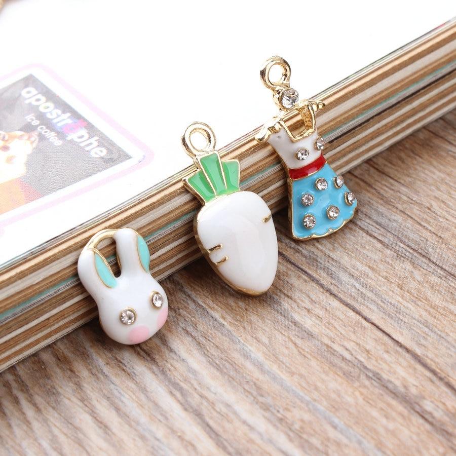 Wholesale Trendy Alloy drop oil gold-color Cartoon Rhinestone Dress/Rabbit/Carrot Shape pendants Charms diy decoration material