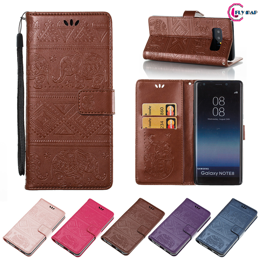 Elephant Coque For <font><b>Samsung</b></font> <font><b>Galaxy</b></font> <font><b>Note</b></font> <font><b>8</b></font> N9500 case Retro Flip Wallet PU leather Cover For <font><b>Galaxy</b></font> Note8 <font><b>N950N</b></font> N950F N950U Bag image