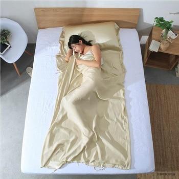 100% De Seda Saco de Dormir Forro Cor Sólida Folha de Viajar Camping Envelope saco de Dormir saco de Dormir Leve Folhas Com Carreg o Saco