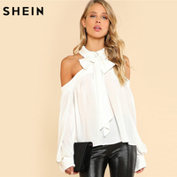 SHEIN White Tie Neck Bow Collar Halter Blouse Women Cold Shoulder Long Sleeve Button Plain Top