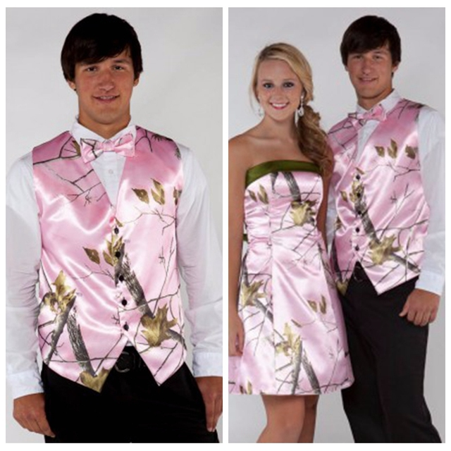 Cheap Pink Camo Mens Vest Formal Buttons Tuxedo Vests Men Suit ...