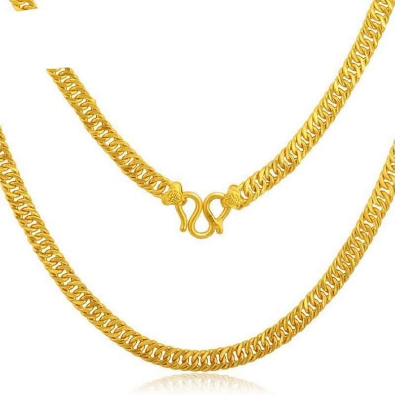 купить Pure 24K Yellow Gold Horsewhip Necklace/ 999 Gold luxury Domineering perfect Necklace недорого