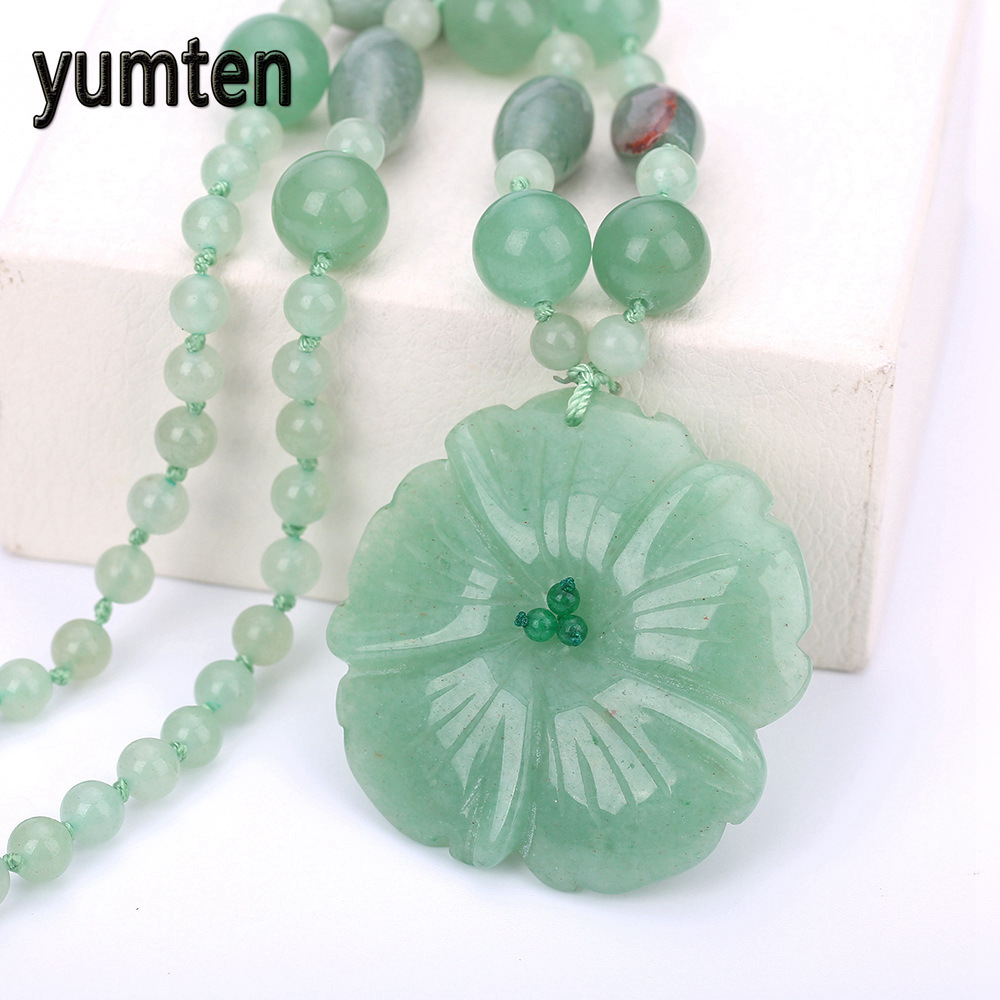 Yumten Women's Pendant Necklace Charm Aventurine Jade Handmade Carved Jewelry Fashion Crystal Beads Chain Gifts Collane Donna