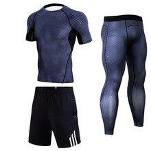 Летний короткий костюм для мужчин бег спортивный костюм шорты crossfit футболка леггинсы спорт фитне