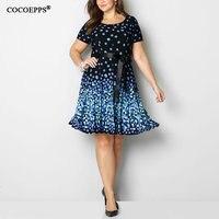 COCOEPPS 2019 вечерние праздничное платье Лето горошек Винтаж Синий по колено Dot печати свободные макси 5XL 6XL платья больших размеров