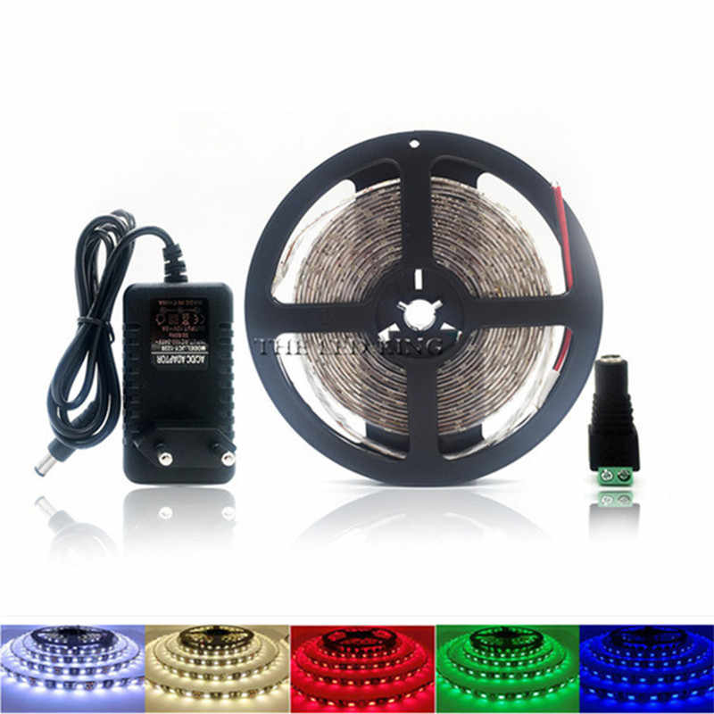 LED Strip Lampu 1M 3M 5M RGB SMD 2835 12V Fleksibel Pita LED dengan Uni Eropa/ kami + Power Switch Supply 2A, hangat Putih, Putih, Merah, Biru, Hijau