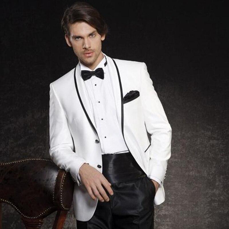 Custom Made Mens Suits Bruidegom Witte Smoking Bruidsjonkers Wedding Party Diner Beste Man Suits Blazer (Jas + Broek + gordel + Vlinderdas)
