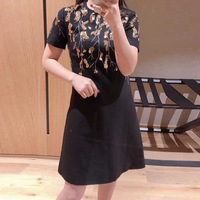 New Spring and Summer V Home Heavy Industry Nail Pearl Sequins Short Sleeve Dress Fashionable Feminine A shaped