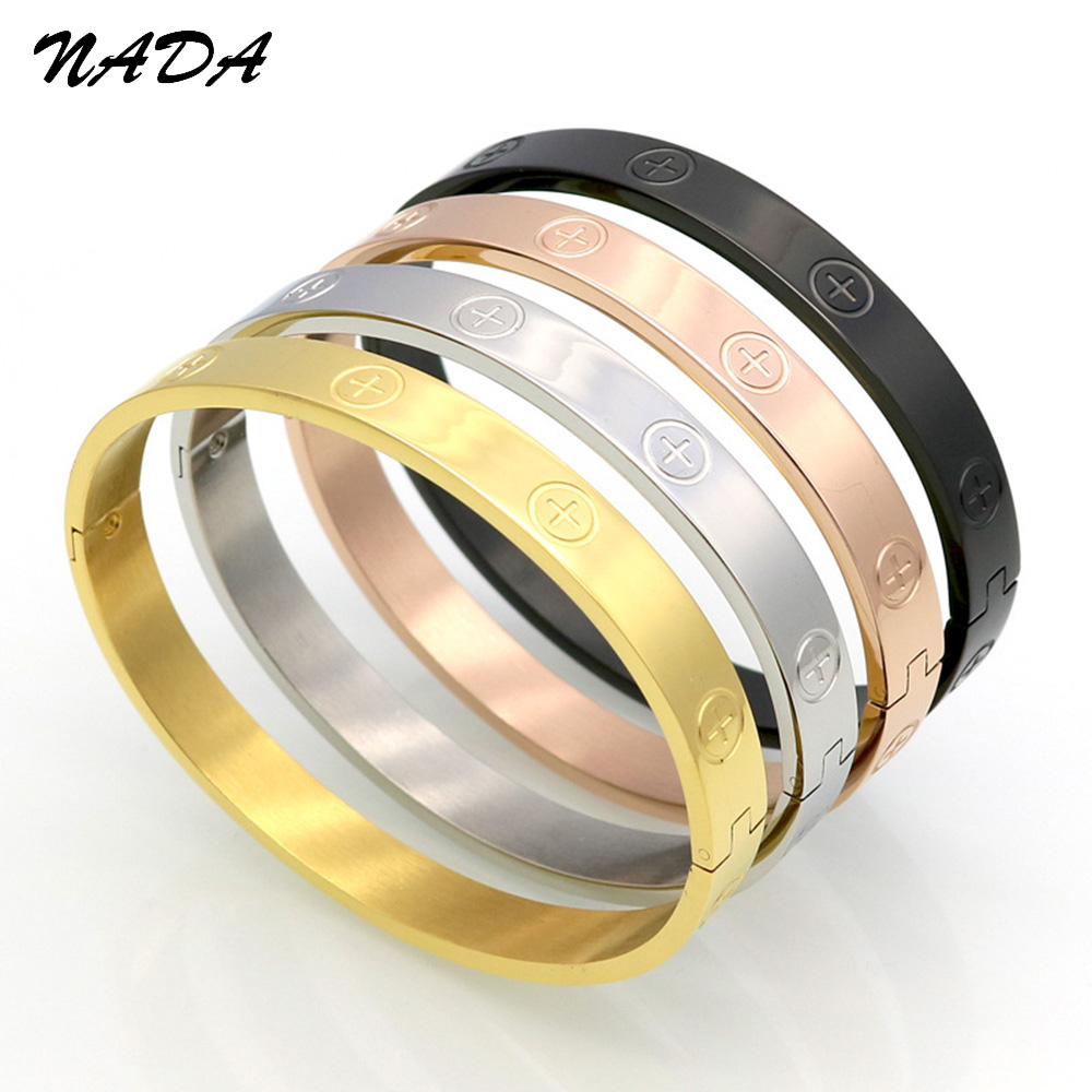 New Trendy Bracelet Cross Screw Gifts For Women Titanium Steel Gold Color Fashion Men Jewelry Love Bracelets & Bangle B17098