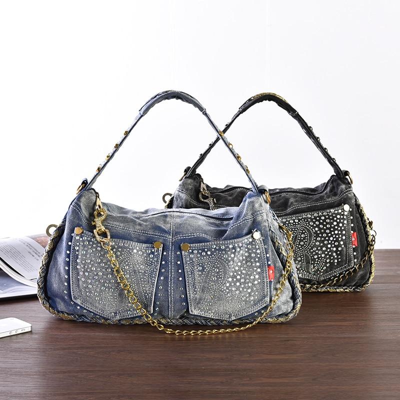 New Vintage Ketten Perlen Kleine Jeans Frauen Handtaschen - Handtaschen
