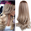 Heat Resistant Synthetic Wig Long Wavy Ombre Color Honey Blonde and White 613 Mixed Middle Part design wigs for American Woman