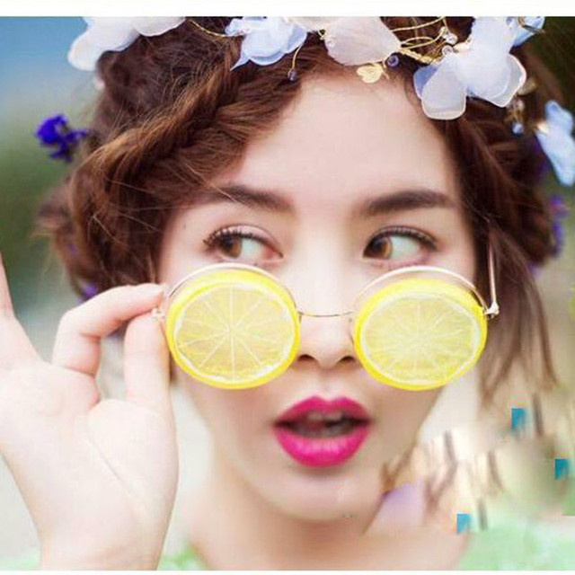 MINCL Hot Lemon Glasses Creative DIY Beach Wedding Photography Studio Photos Funny Sunglasses Props