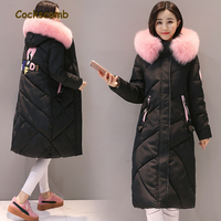 Cockscomb Brand Letter Appliques Winter Parkas Women Large Faux Fur Collar Hooded Coat Outerwear Woman Cotton Wadded Jackets