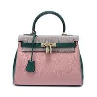 New handbags handbags women famous brands Embossed coloured locks Genuine Litchi prints Genuine Leather women messenger bags
