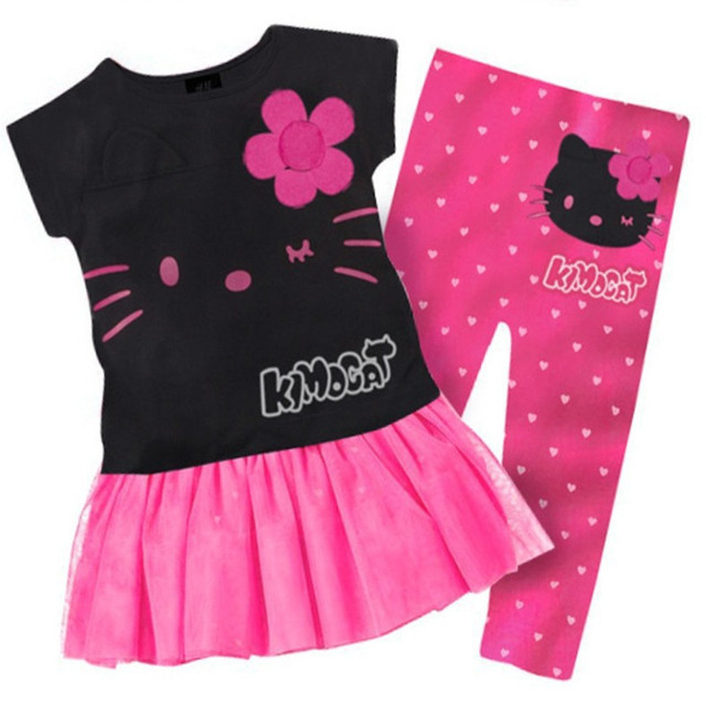 Fashion Summer Children's Clothing Cool Child Cartoon Kt Top Trousers Set Baby Girls Hello Kitty Cotton Flower Top + Pants Suit