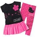 Ropa Para Niños de moda de Verano Fresco Niño de Dibujos Animados Kt Mejores Pantalones conjunto de los bebés de hello kitty de algodón de la flor top + pantalones traje
