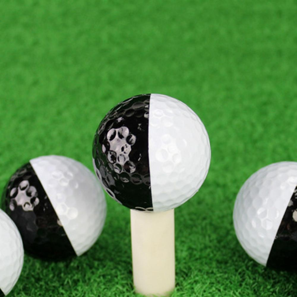 Golf Ball Black And White  Patchwork Ball Synthetic Rubber Resin Golfing Practice Two Piece Balls Present Gift