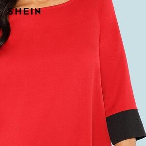 Image 5 - SHEIN Rode Contrast Trim Tuniek Jurk Werkkleding Colorblock 3/4 Mouwen Korte Jurken Vrouwen Herfst Elegante Rechte Mini Jurken