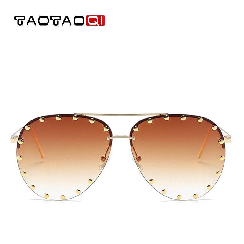 TAOTAOQI Marque De Luxe lunettes de Soleil Femmes Concepteur Sexe Pilote lunettes de Soleil Hommes UV400 De Mode Rivet Décoratif Sans Cadre Lunettes
