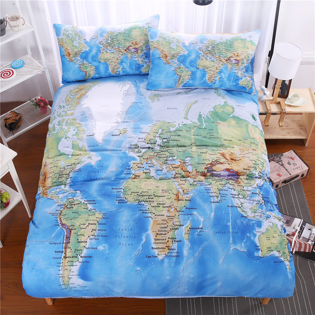Cilected Blue World Map Printed Single Flat Sheet Polyester Fabric Bedsheet Twin Full Queen