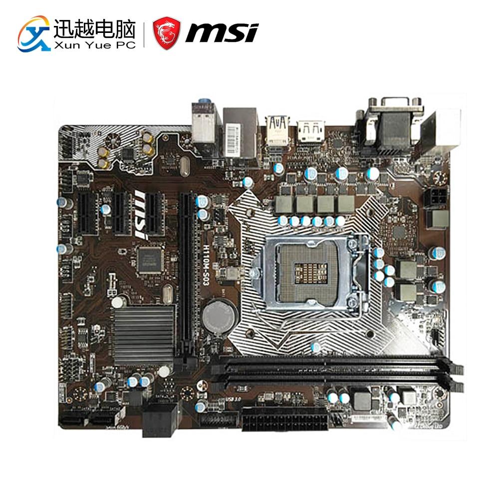 MSI H110M-S03 Desktop Motherboard H110 Socket LGA 1151 i3 i5 i7 DDR4 32G SATA3 Micro-ATX asus h110m k desktop motherboard intel h110 chipset socket lga 1151 micro atx