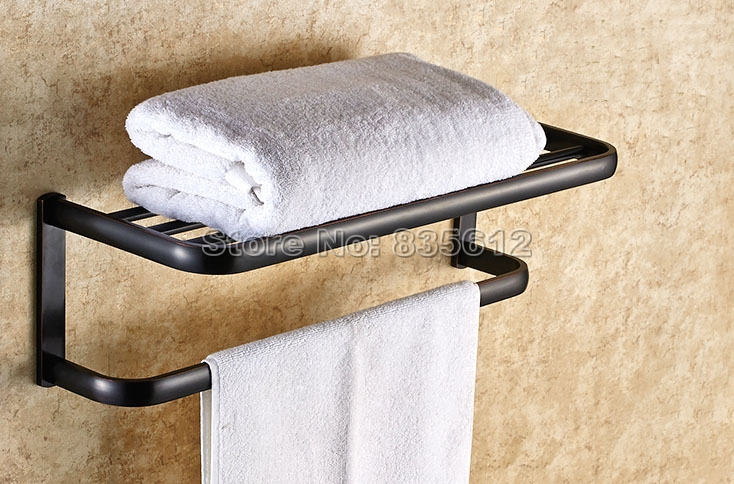 цена на Bathroom Accessory Black Oil Antique Brass Double Towel Rail Holder Storage Rack Shelf Bar Wall Mounted Wba199