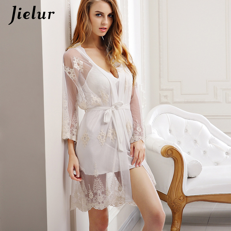 Jielur Sexy Lace Robe Women Fashion Perspective Bow Tie Bathrobe+Mini Night Dress Two Pieces Homewear Robes Gown Lady Sleepwear