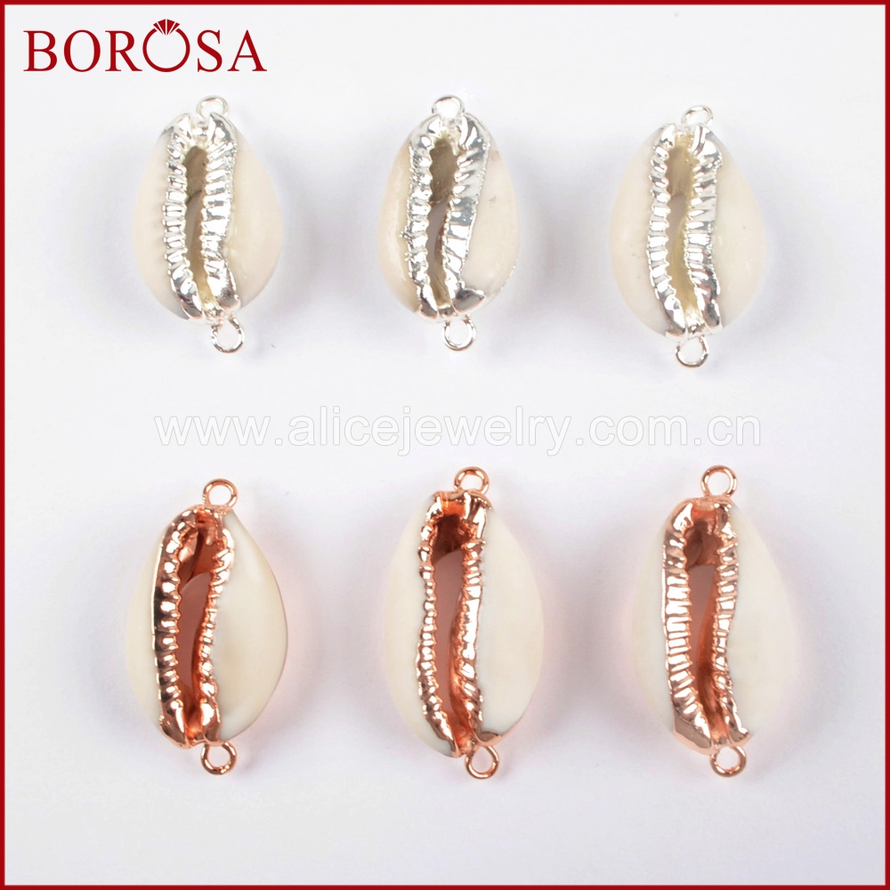 BOROSA Druzy Jewelry SilverRose Gold Color Natural Shell Connector Double Bails Charms for Women's Necklace Making G1500