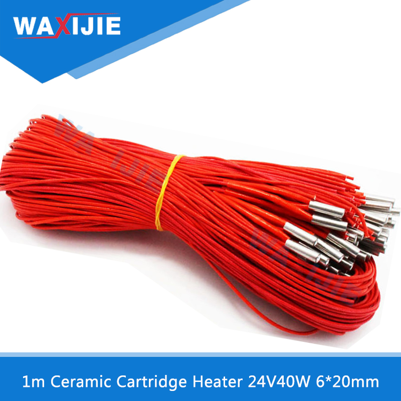 5PCS/Lot Ceramic Cartridge Heater For Extruder 3D Printers Accessories 24V40W 6mm*20mm Heating Tube Rod 1 meter Length