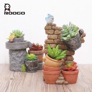 Image 3 - Roogo עתיק פרח סירים סיני סגנון בית גן צמח סיר דקורטיבי סירי פרחים בשרניים עציץ פיות בית