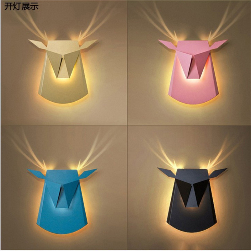 Northern Postmodern Bedroom Wall Lamp Creative Personality Aisle Restaurant Bar Cafe Deer Head Decorative LED lamp Free Shipping