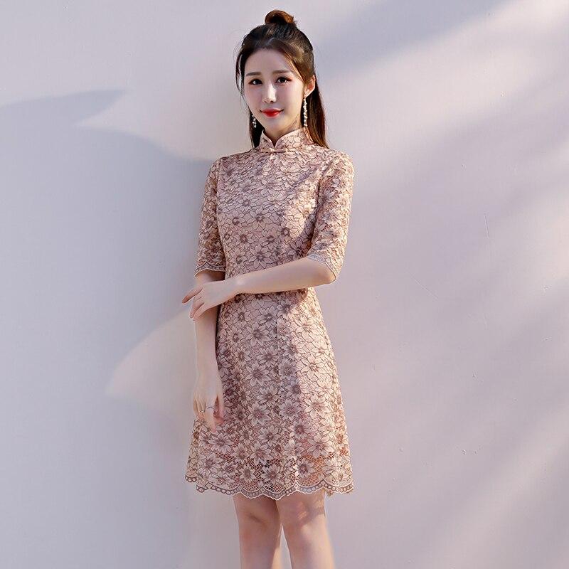 xxl Mince Col Partie Qipao Vintage Chinois Kaki Femmes Robe D'été Style Mandarin Court 2018 S Cheongsam Dentelle rouge Robes Mini 4qwOAT