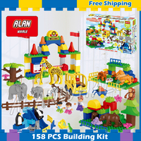 158pcs New Big Zoo My First Animals Creative Big Size Model Building Blocks Bricks Toys Boys Gifts Compatible With Lego Duplo
