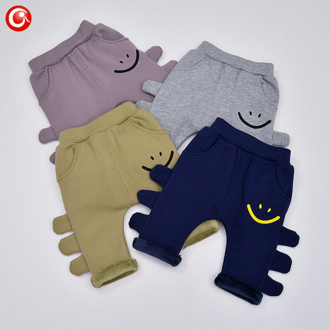 2016 Winter Thicken Baby Girls Plushed Pants 3D Animal Kids Smile Tights Trousers For Boys 7-24M Infant Bebes Clothing