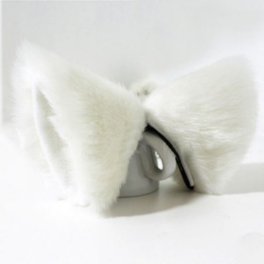 Fashion Girls Cute Cosplay Party Anime Costume Cat Fox Ears Long Fur Hair Clip Pink Black White Lovely   Headwear   Clip 5 Colors