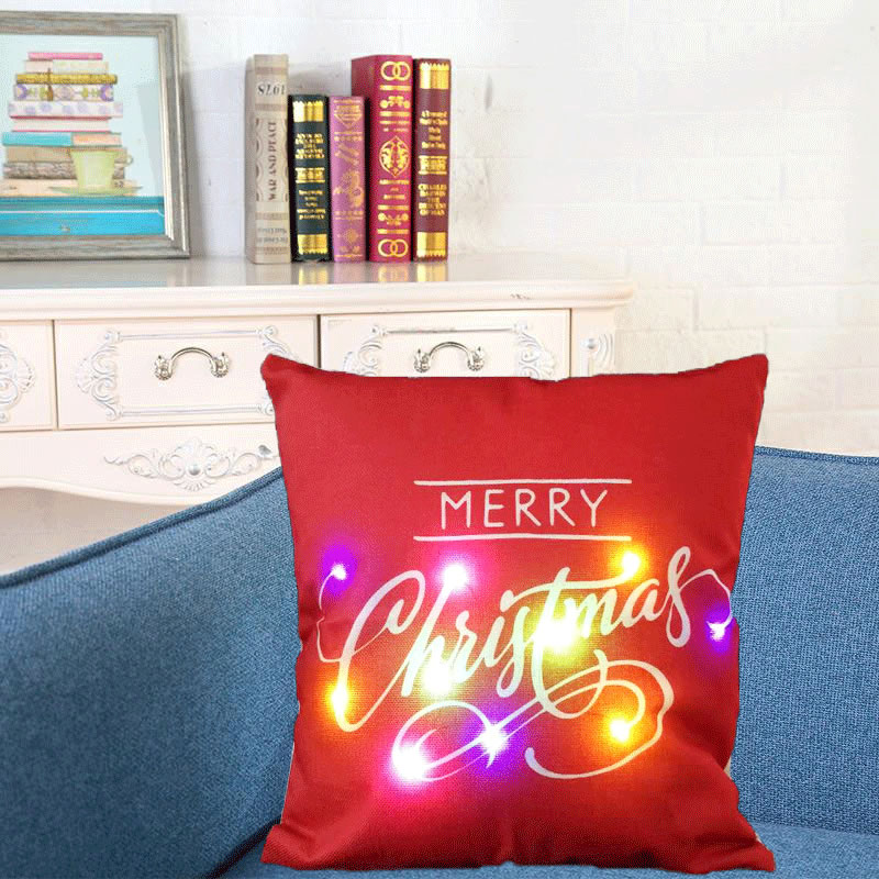 LED Christmas Pillow Case Xmas Cushion Cover Throw Home Decor Merry Christmas Festival Gift Home Textile 45x45cm F